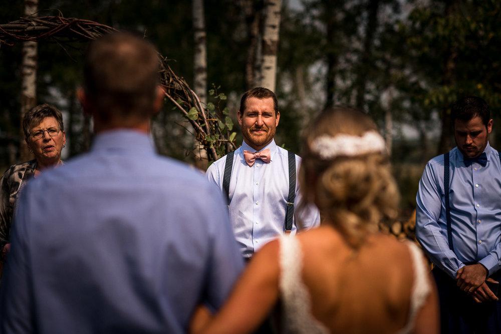 Alberta Intimate Farm wedding calgary banff wedding photographer elopement first look at the bride