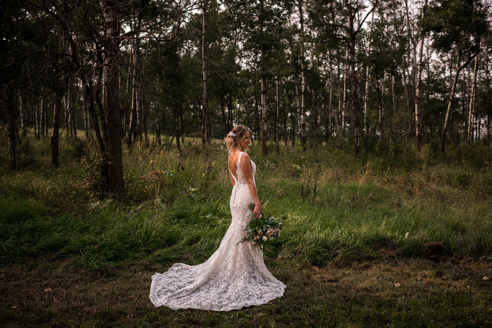 Alberta Intimate Farm wedding calgary banff wedding wedding dress versace