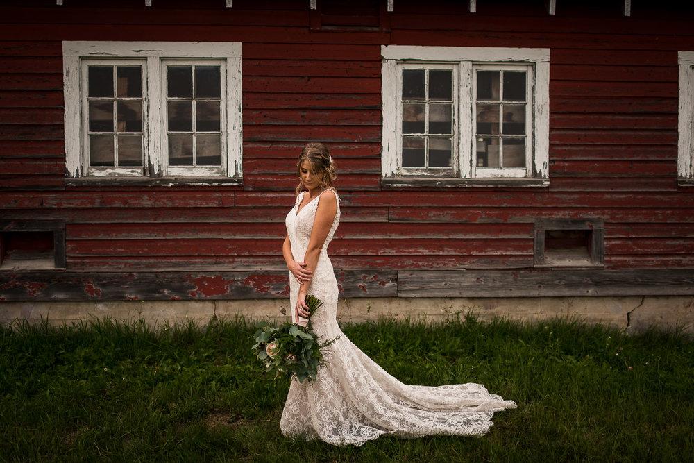 beautiful canadian bride rustic farm wedding alberta versace wedding dress