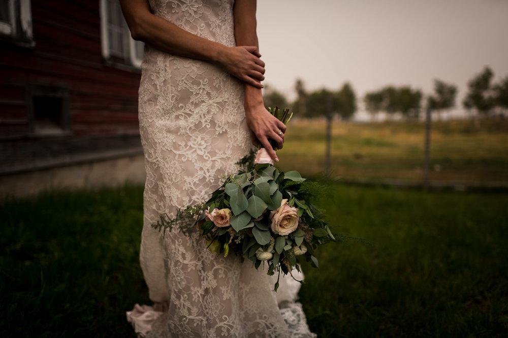 Alberta Intimate Farm wedding calgary banff wedding photographer elopement versace wedding dress details