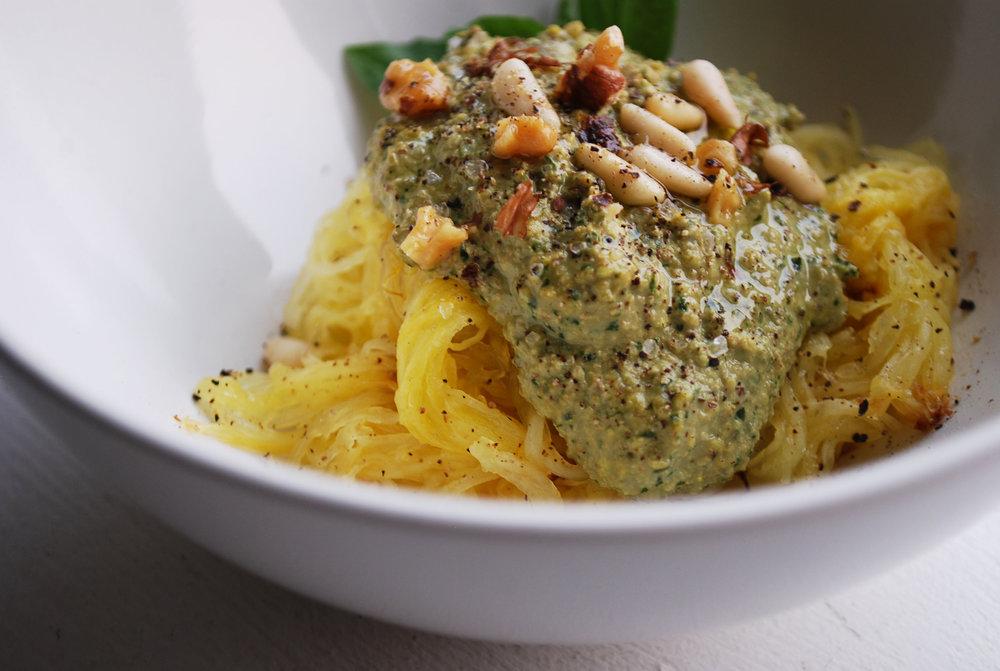 walnut pesto spaghetti squash
