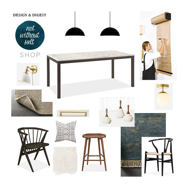 Furniture and lighting and accessories from Room and Board, Schoolhouse Electric, Amazon, George and Willy, Loom Goods, and Second Use.