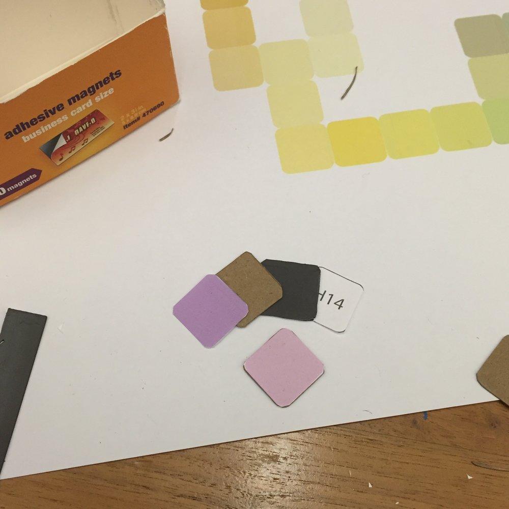 color paper + chipboard + magnet + paper (key)