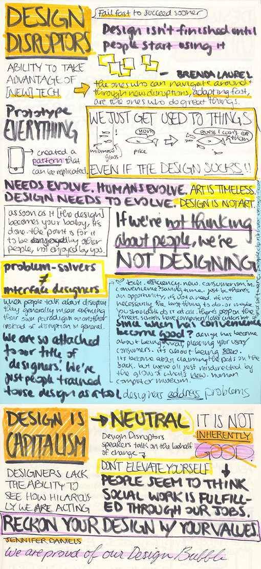 Design Disruptors film by Invision.  Design is Capitalism  'CreativeMornings' talk by Jennifer Daniels. The blue part is my response to both.  My objection:  I am NOT a 'designer who changes the world'.  I am a creative individual harnessing 'DESIGN' as a TOOL; as a result, I have the potential to impact the world in a positive or negative way and must use my ability powerfully, respectfully, responsibly.