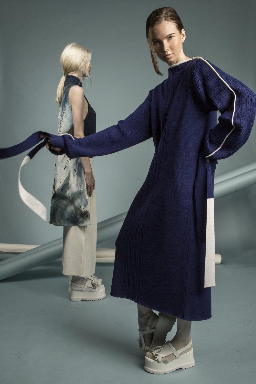 Knitwear by Bom Kim, textiles by Liz Li