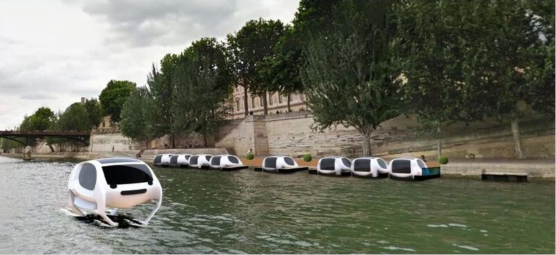 A mock-up of the Sea Bubbles water taxi's