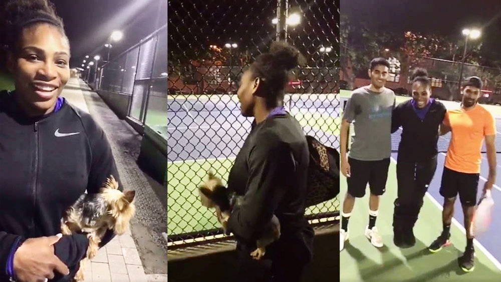 Screen caps from Serena Williams' Snapchat
