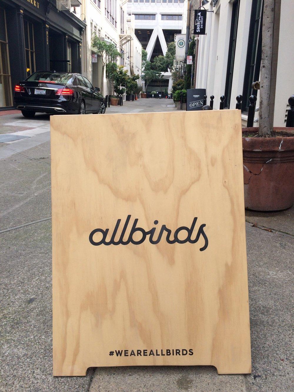 The Allbirds sign in downtown San Francisco, photo courtesy of Natasa Spasic