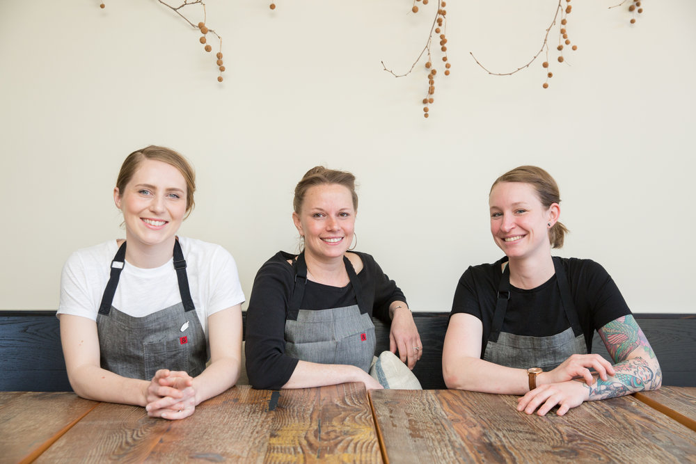 The Octavia chef trio, Sarah Bonar, Melissa Perello, and Sara Hauman photography by Grace Sagar