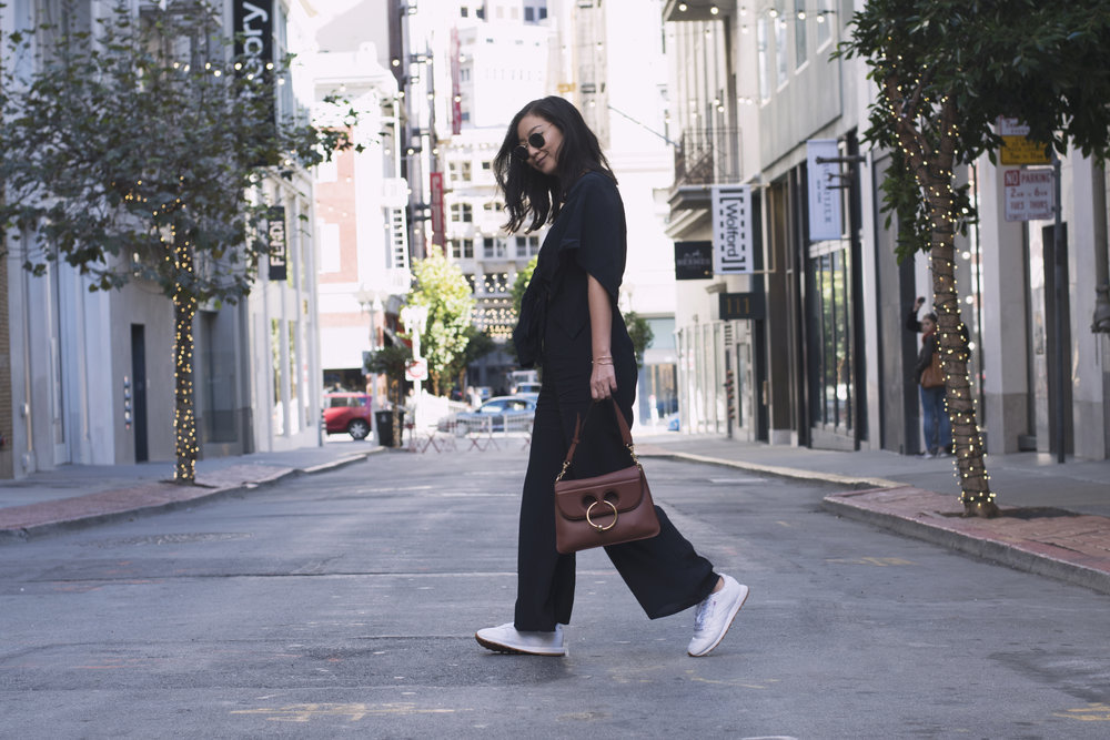 Jumper: Shop Isalis, Sunglasses: Ray Ban, Shoes: Reebok, Purse: JW Anderson