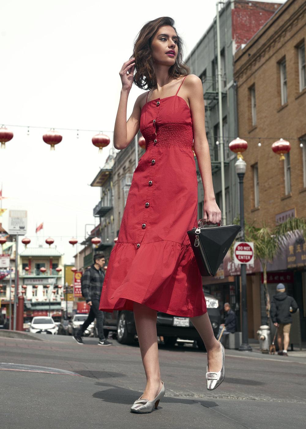 Dress and handbag by Nika Tang, shoes by Wallflower SF.