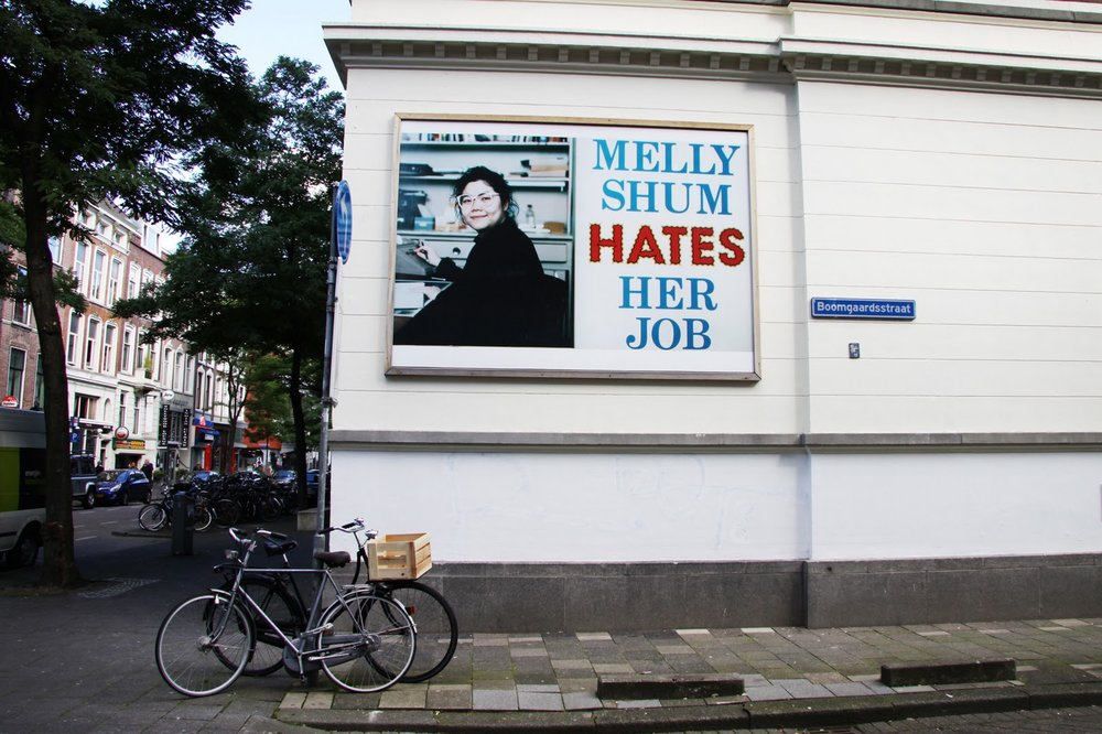 Melly on the side of the Witte de With Center for Contemporary Art in Rotterdam