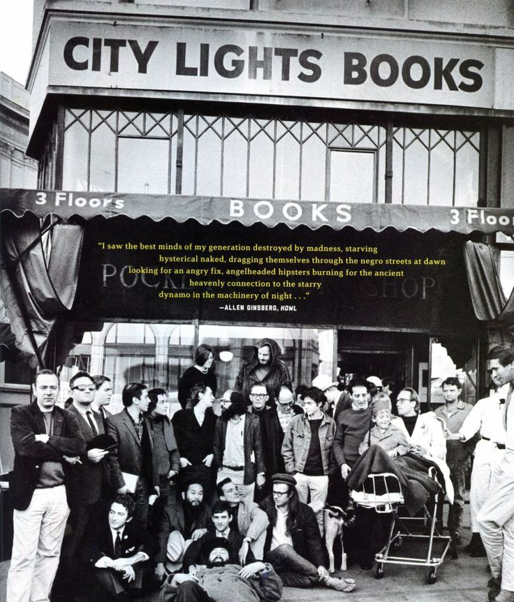 The Beats outside of City Lights Books, 1964.  (Larry Keenan)
