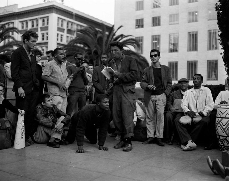 Beatniks go on a tour of San Francisco, visiting the St, Francis Hotel, Union Square and I. Magnin's, August 11, 1958. Photograph by Bob Campbell / The Chronicle