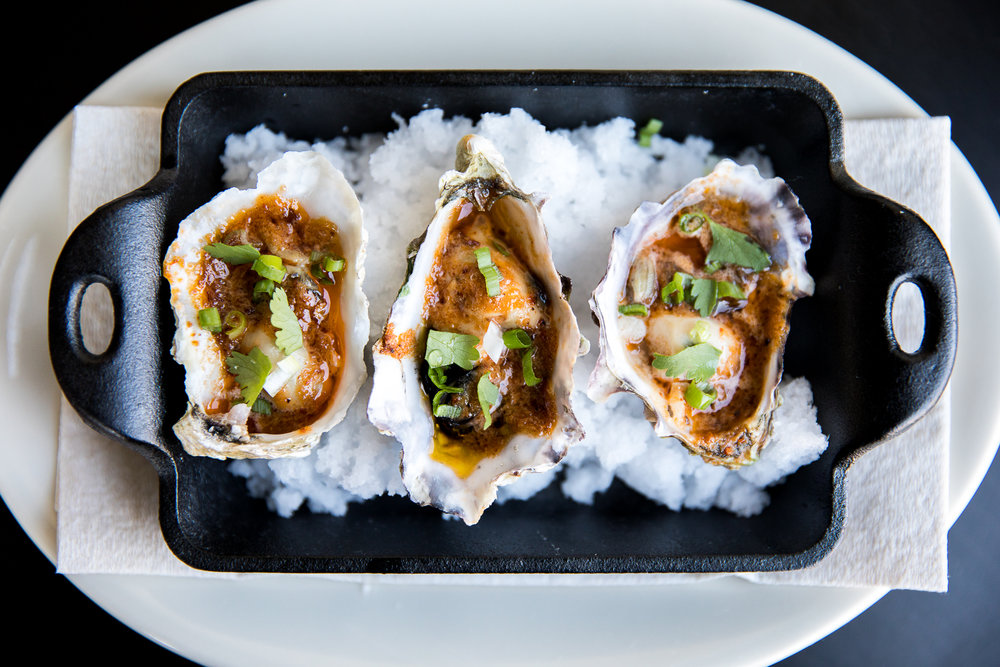 Grilled Tomales Bay oysters, garnished and served with BBQ sauce // 3.50 each