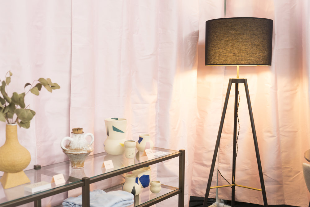 Featuring Yina Kim, Nola Mae Ceramics, the  Brixton Console Bookcase , and  the Crocus Floor Lamp.