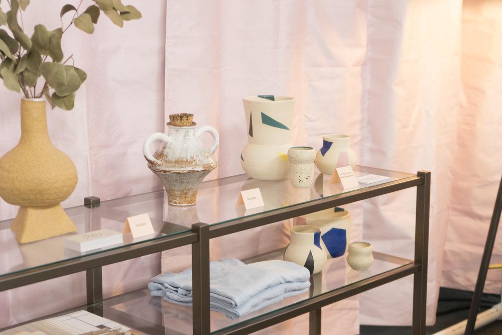 Featuring Yina Kim, Nola Mae Ceramics, and  Brixton Console Bookcase .