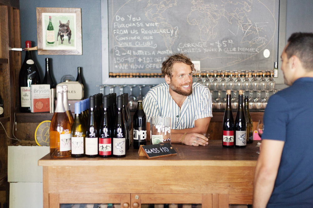 Aran Healy at the bar of Ruby Wine in San Francisco. Photography courtesy of Sprudge.