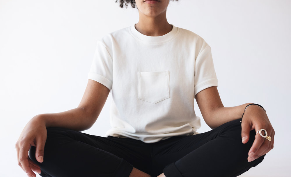 Model wearing the Original Centered Pocket T-Shirt