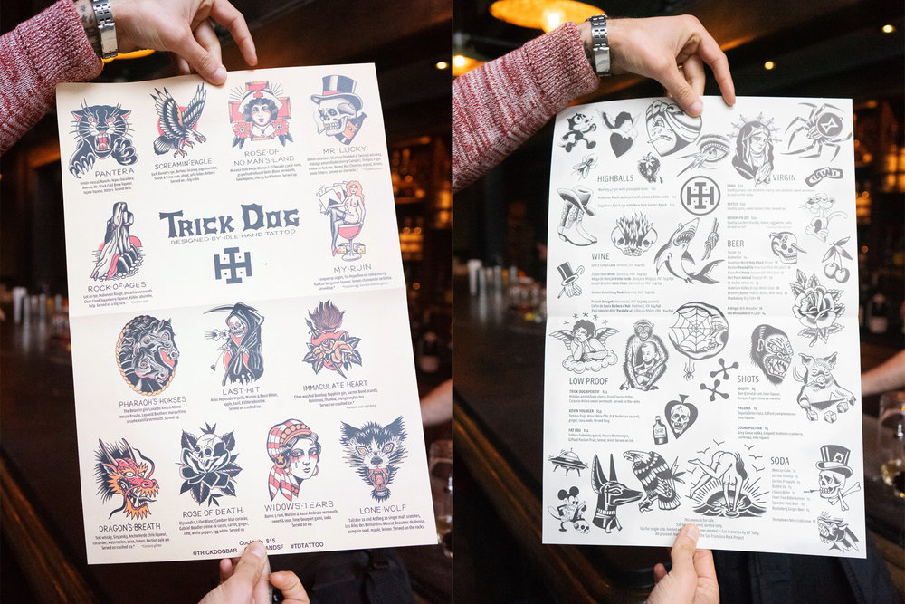 "The ""Flash Sheet"" menu with the drinks, their ingredients, and the inspirations behind them."