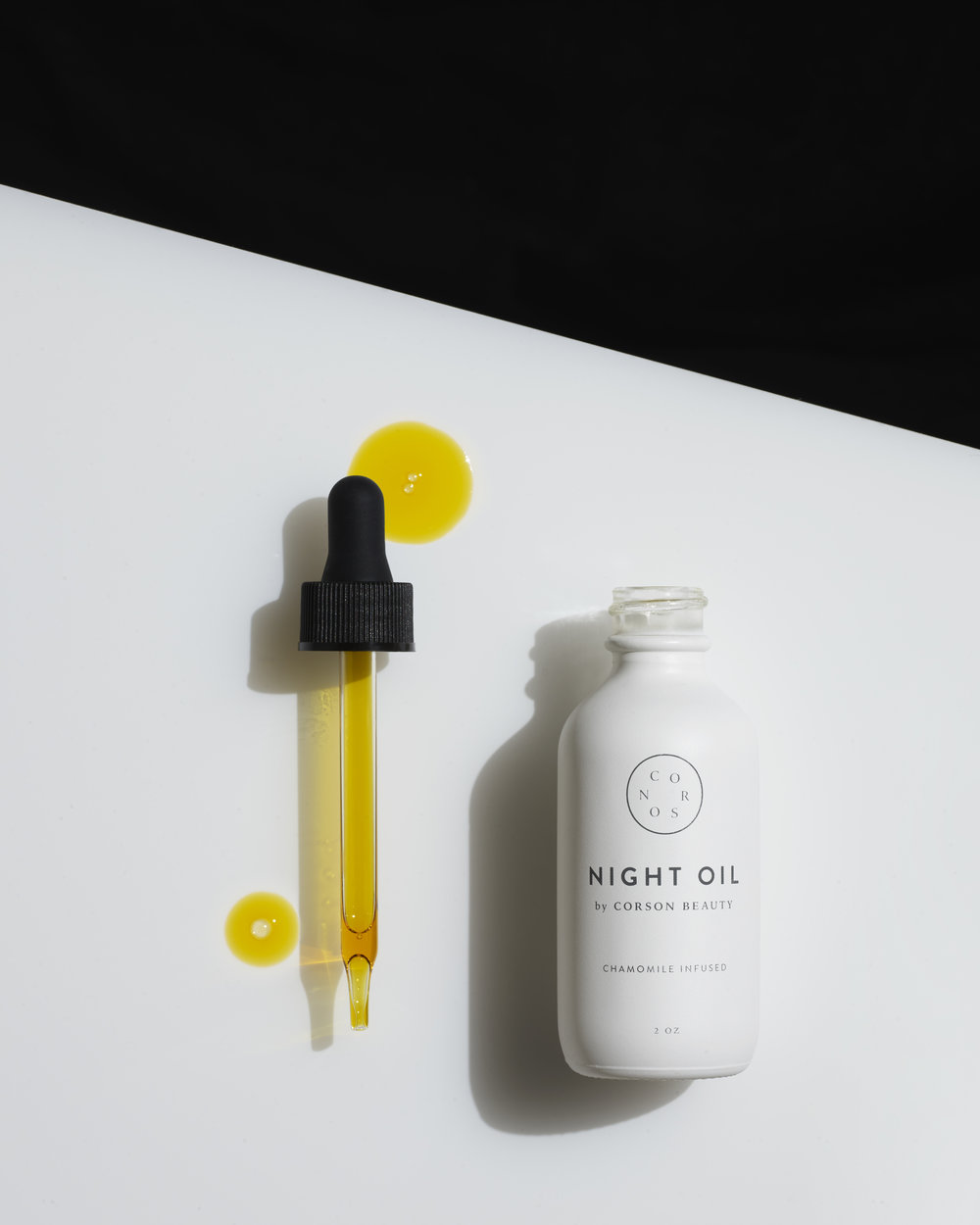 Corson BeautyNight Oil - If you were looking for a night oil that's light on the skin yet does the damn job—Corson Beauty takes the cake. And in emergencies where your skin is going erratic, the night oil truly comes to the rescue. Chalk full of botanicals like chamomile, rosehip seed oil, and squalene, you're essentially giving the skin a nightly juice cleanse. We suggest using this product at night before bed on it's own—it plays better by itself. Going overboard on the nightly creams or serums will clog your pores with a fierce intent. When applying to the skin, push and press the serum into the face rather then swiping or dragging, you'll get the most potent results out of your oil.// Corson Beauty, Night Oil, $88