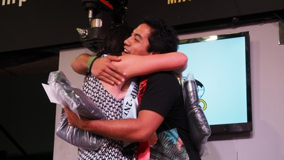 Joel hugs Sharee after his win annoucement