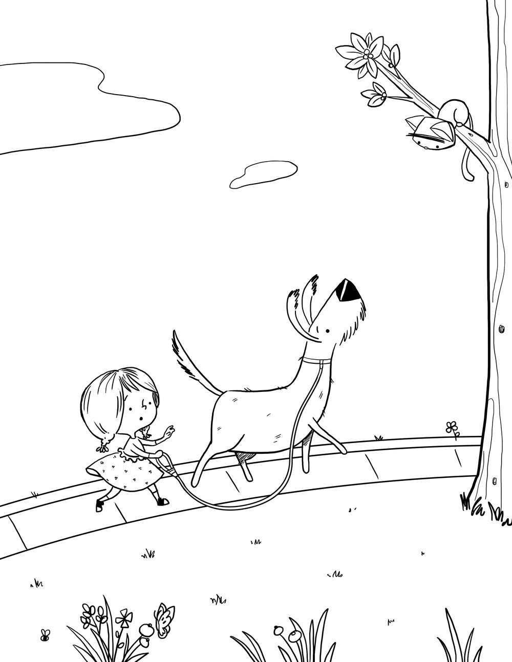 Walk Your Dog Coloring Page