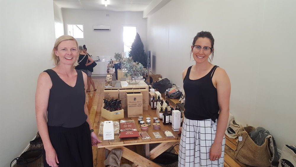 Gina Sheldrick and Tracie McSwain at the Poppy & Lola pop-up shop during Christmas 2016