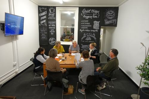 Mallee Rising offers two meeting spaces:  a small meeting room  for up to 6 people equipped with flatscreen TV and whiteboard and  a larger, open meeting space  (pictured) that can be configured to different needs.