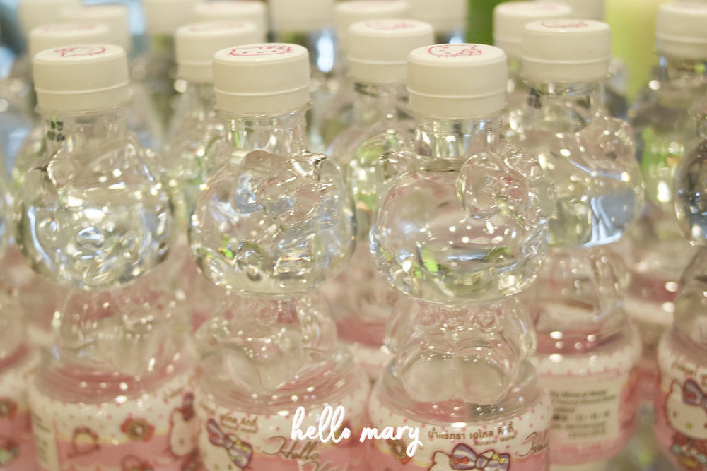 This is such a bad photo but HELLO KITTY SHAPED WATER BOTTLES. Whut.