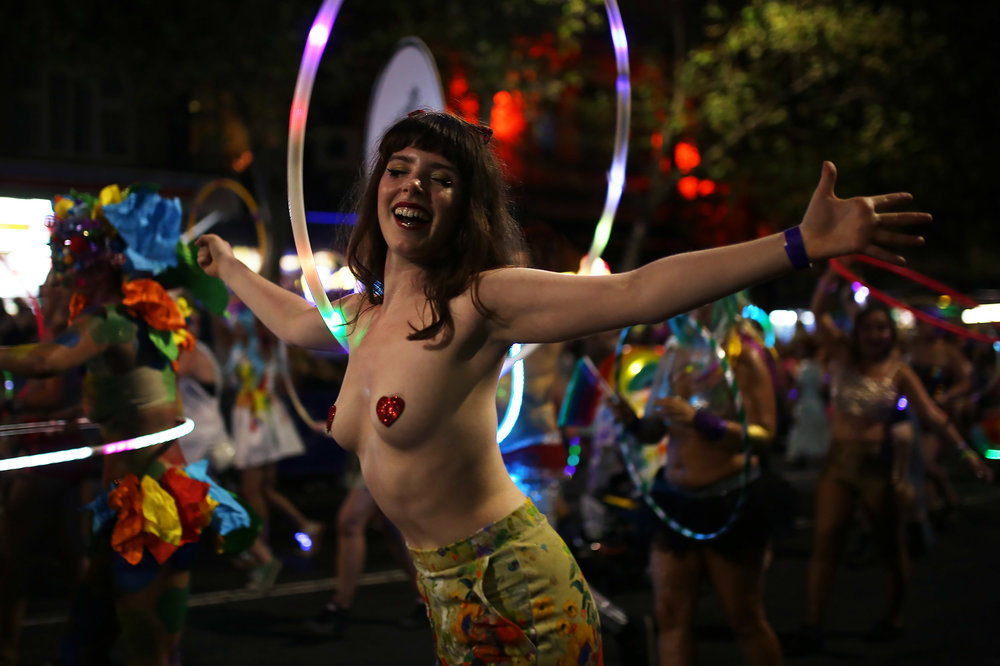 A woman dances with a hula hoop during the annual Sydney Gay and Lesbian Mardi Gras parade in Sydney, Australia March 4, 2017.