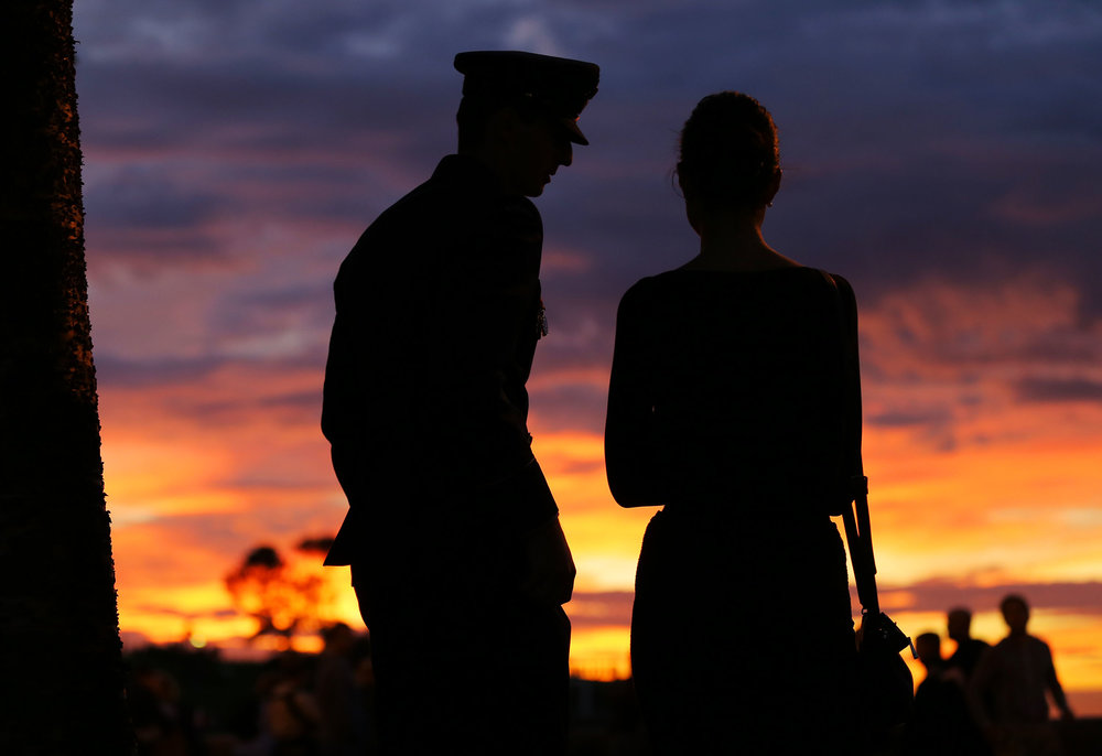 Members of the Australian armed forces and the public participate in the annual Anzac Day dawn service held at Coogee Beach in Sydney, Australia.