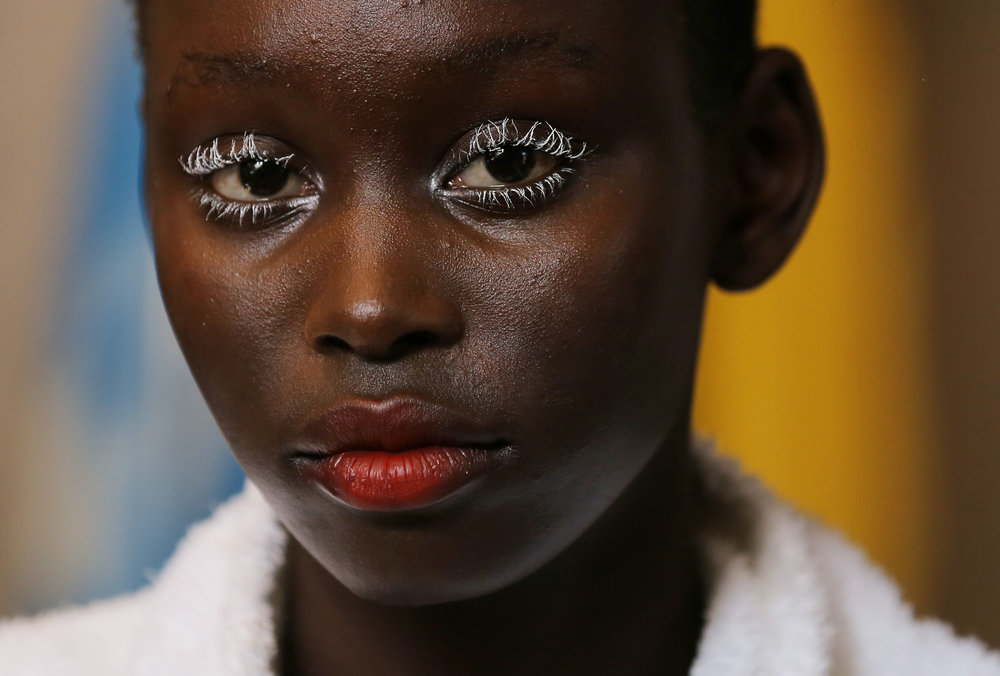 A model for designer Gary Bigeni looks on backstage during Fashion Week Australia in Sydney, Australia.