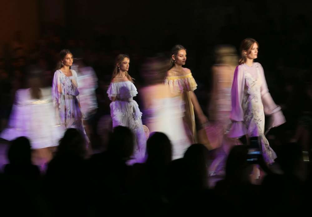 Models for We Are Kindred participate in a runway show during Fashion Week Australia in Sydney, Australia.