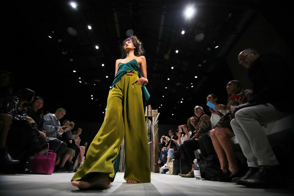 A model for Yousef Akbar participates in a runway show at Fashion Week Australia in Sydney, Australia.