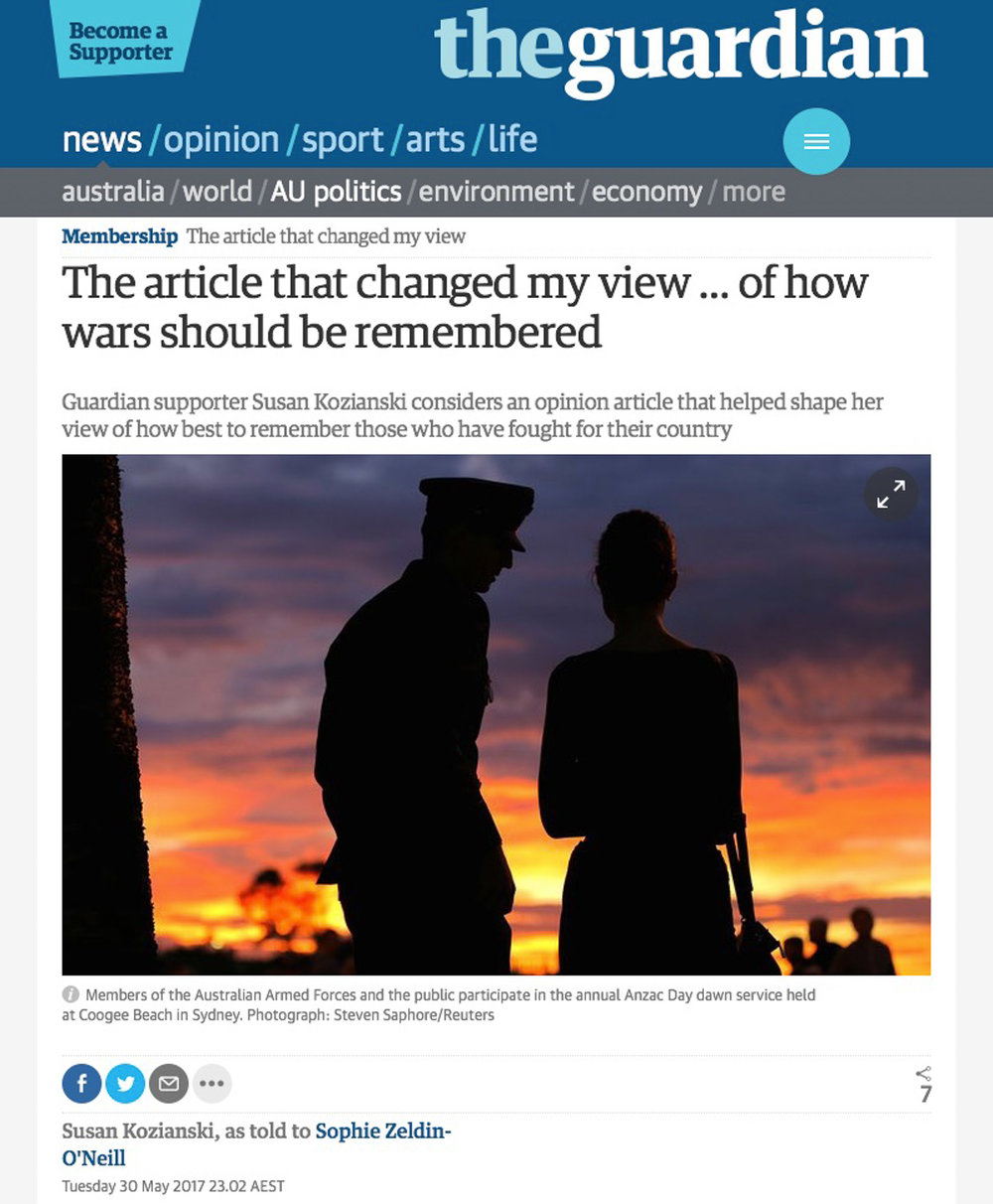 Guardian supporter Susan Kozianski considers an opinion article that helped shape her view of how best to remember those who have fought for their country.