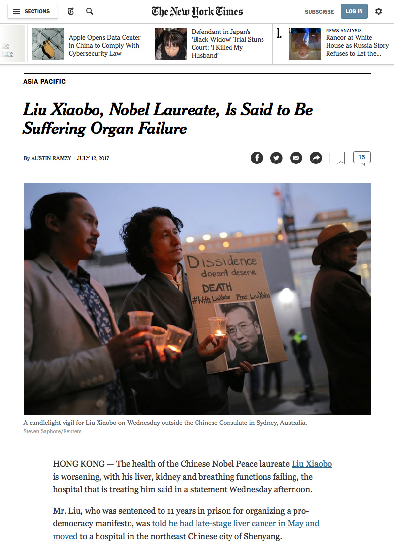 Liu Xiaobo, Nobel Laureate, Is Said to Be Suffering Organ Failure - The New York Times (2017-07-13 10-30-23).jpg