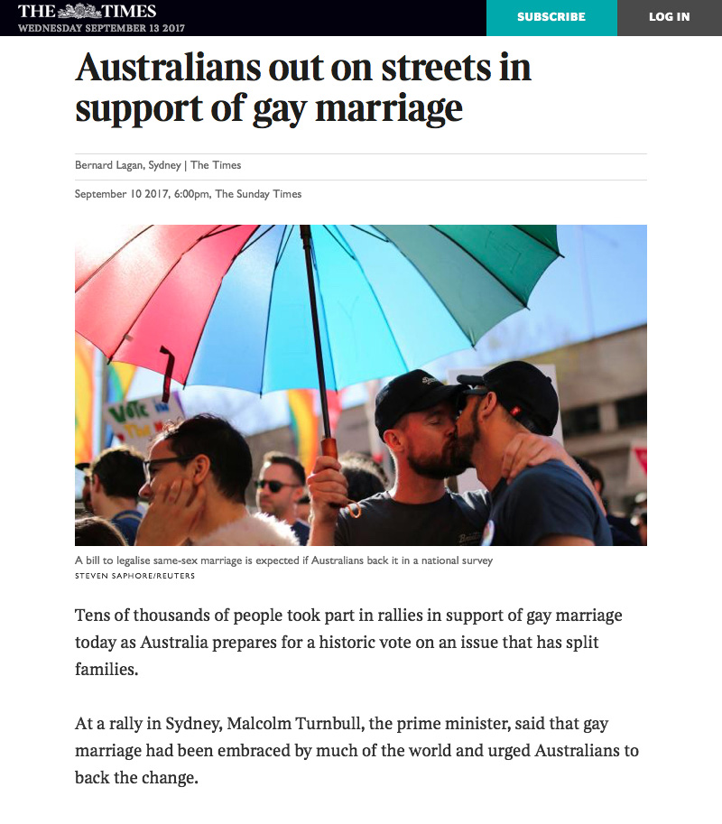 Tens of thousands of people took part in rallies in support of gay marriage today as Australia prepares for a historic vote on an issue that has split families.