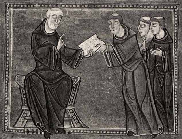 St. Benedict delivering his rule to the monks of his order, Monastery of St. Gilles,  Nimes , France, 1129