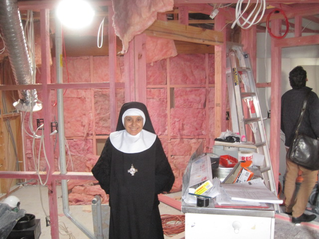 Mother Rachel in the new kitchen area.