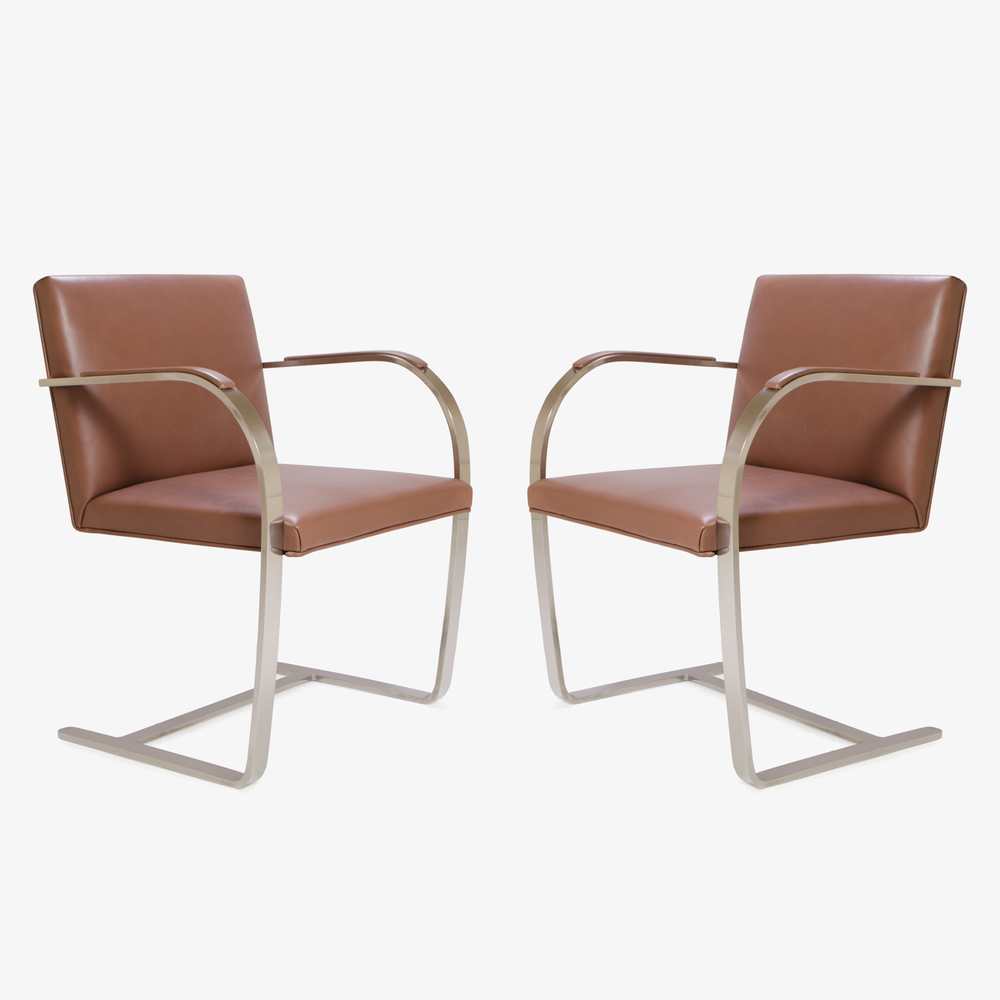 Mies van der Rohe for Knoll Brno Flat-Bar Chairs in Cognac Leather2.png
