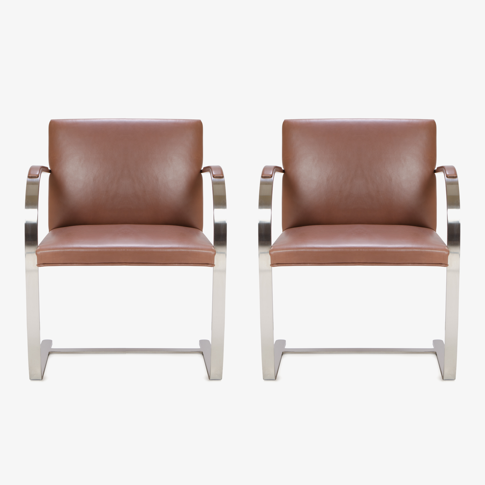 Mies van der Rohe for Knoll Brno Flat-Bar Chairs in Cognac Leather.png