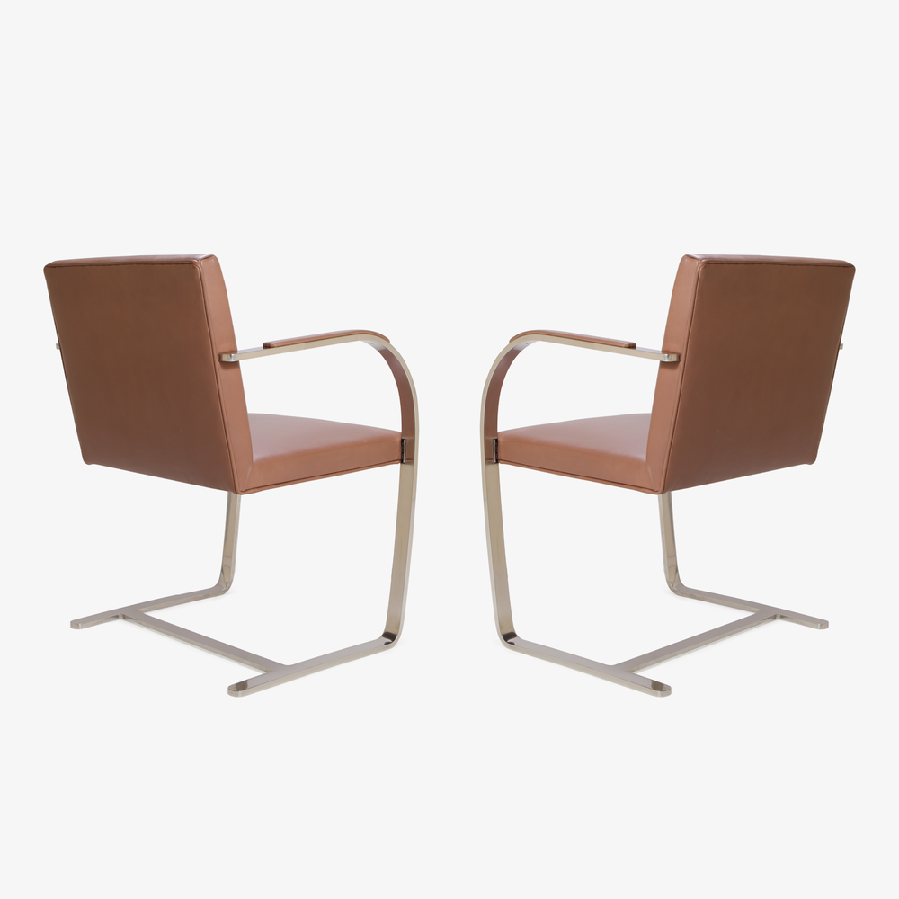Mies van der Rohe for Knoll Brno Flat-Bar Chairs in Cognac Leather4.png
