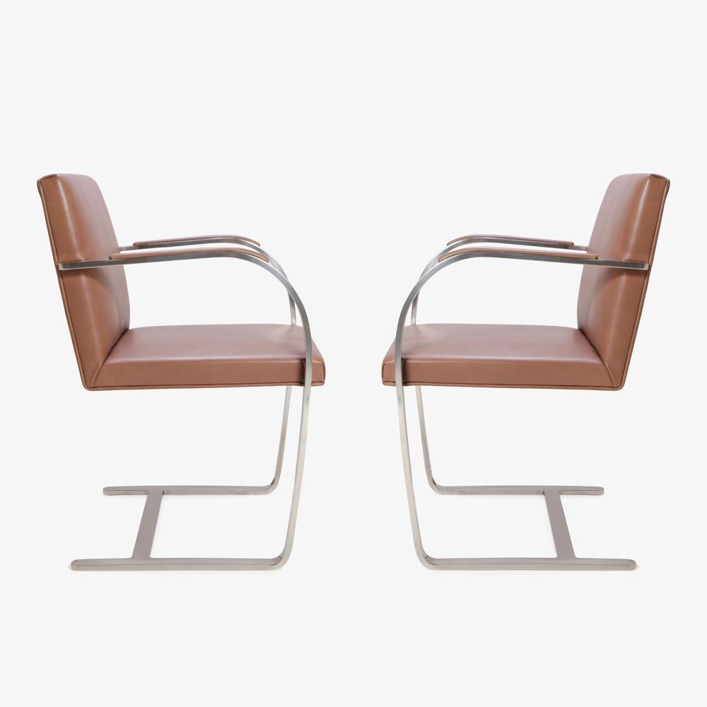 Mies van der Rohe for Knoll Brno Flat-Bar Chairs in Cognac Leather3.png