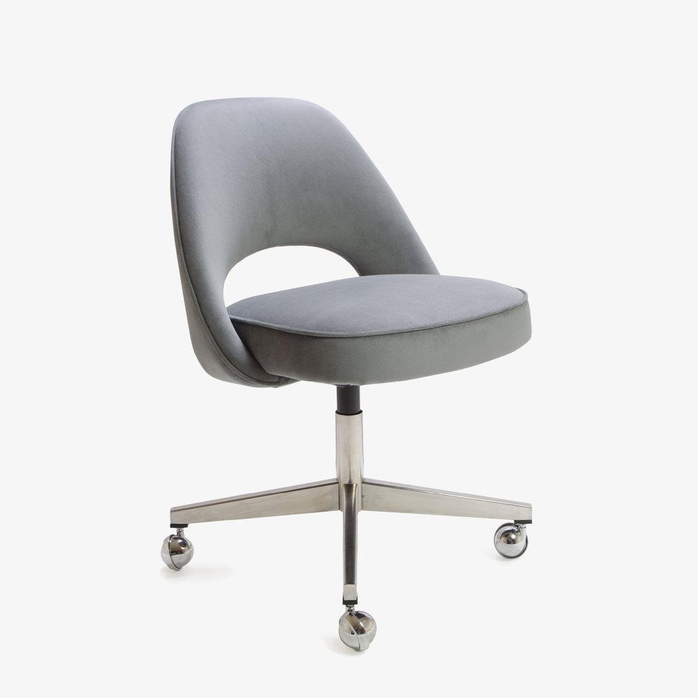 Saarinen Executive Armless Chair in Gunmetal Gray Brushed Microfiber, Swivel Base.jpg