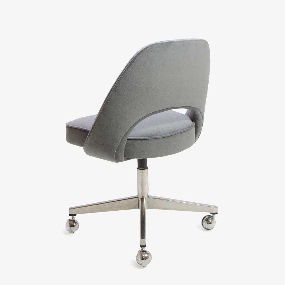 Saarinen Executive Armless Chair in Gunmetal Gray Brushed Microfiber, Swivel Base2.jpg