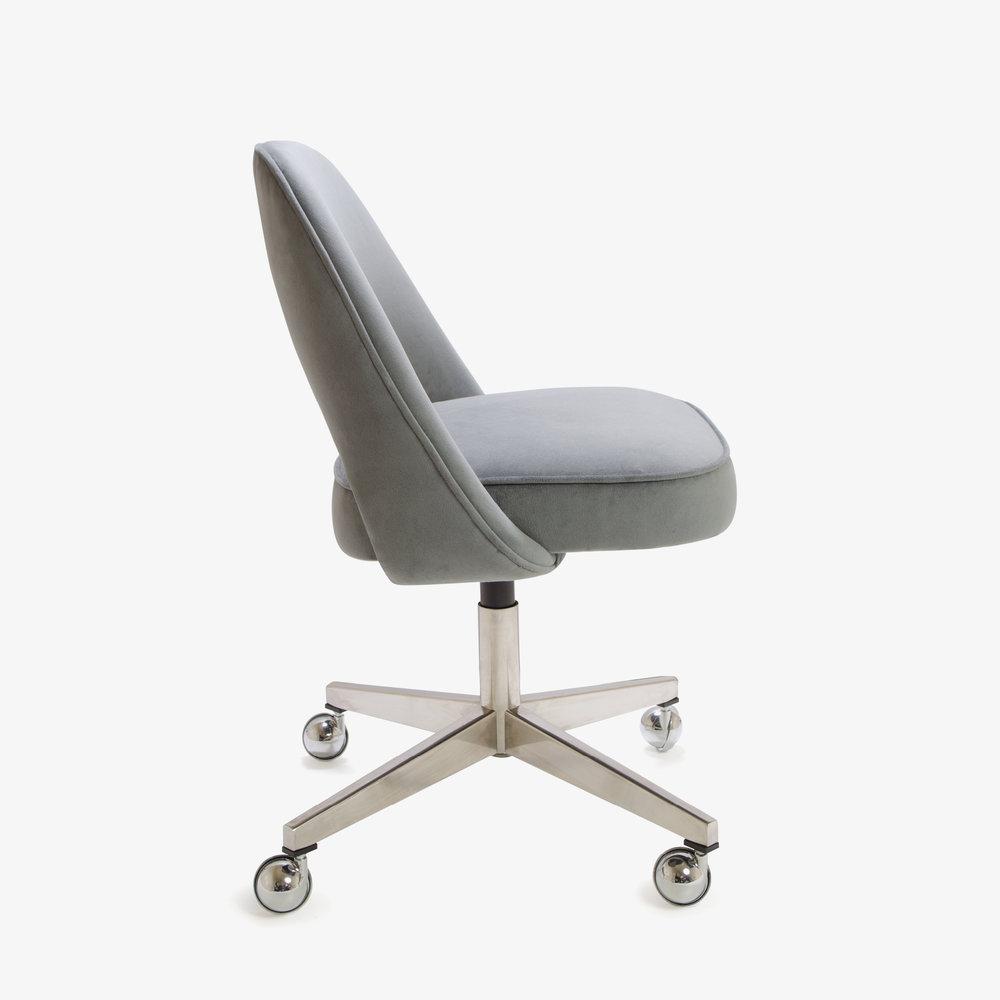 Saarinen Executive Armless Chair in Gunmetal Gray Brushed Microfiber, Swivel Base4.jpg
