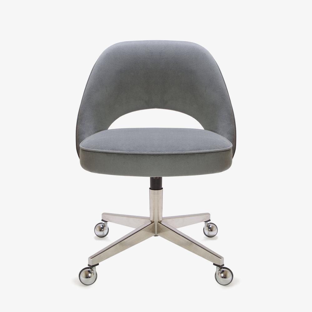 Saarinen Executive Armless Chair in Gunmetal Gray Brushed Microfiber, Swivel Base3.jpg