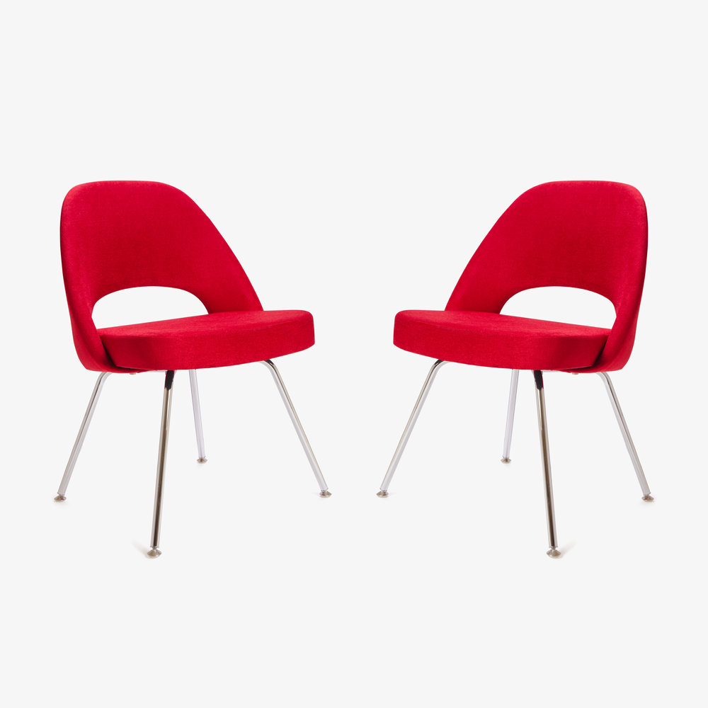 Saarinen Executive Armless Chair in Fire Red, Pair (1 of 1).jpg