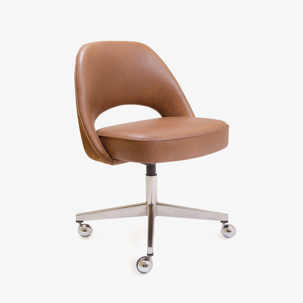 Saarinen Executive Armless Chair In Saddle Leather U0026 Suede, Swivel Base |  Montage